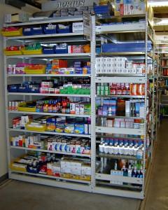 Pharmacy Shelving Stocked